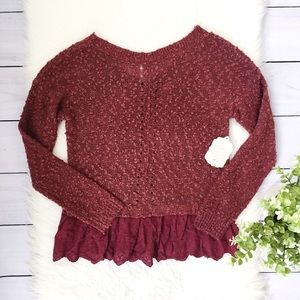 NWT Altar'd State Red Pink Ruffle Hem Sweater